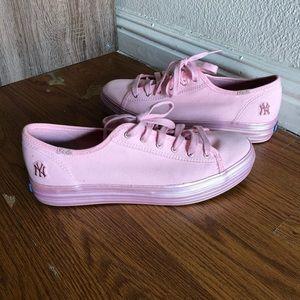 KEDS Pink Yankees Shoes Size 8 Ortholite w/ Box